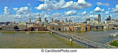 Millennium bridge panorama - Panorama of Millennium bridge...