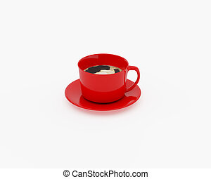Red cup against white background. 3d illustration on the...