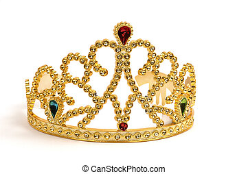 Tiara - Gold tiara studded with fake jewels and diamonds