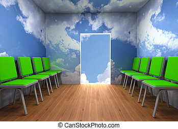 Alternative exit from a room in clouds abstraction design