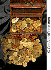 Chest and money - Bunch of golden money coins in the chest