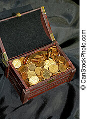 Money in chest - Bunch of golden money coins in the chest