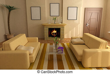 modern interior 3d - modern interior design with fireplace...