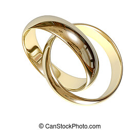 Wedding rings 3D - Two wedding ring on a grey background 3D