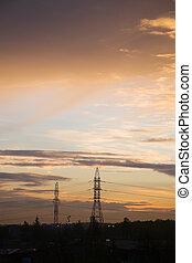 sunrise - Industrial sunrise on surburb of St-Petersburg,...