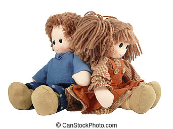 A Couple. Rag Doll - A Couple to sit doll on white...