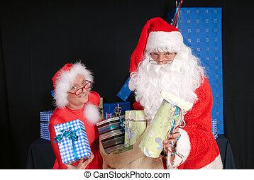 Santa Claus and woman - Xmas, Christmas time, santa claus...