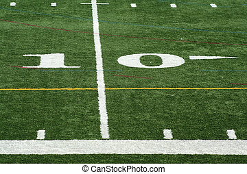 Football  yard marker - A white Football ten yard marker