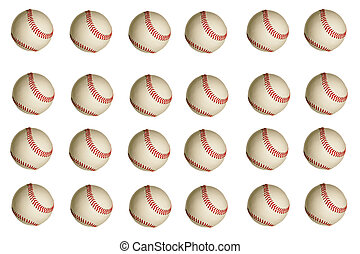 Baseball Background - Isolated baseballs on a white...