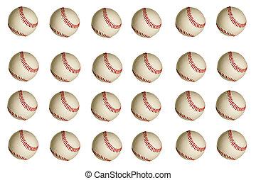 Baseball Background - Isolated baseballs on a white...