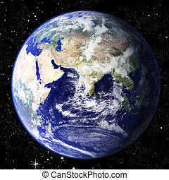 Planet Earth - The world seen from the east hemisphere set...