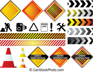 construction - road work signs that could be used to show a...