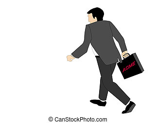 Off To Meetings - Businessman with briefcase walking away...