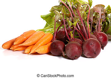 beet and carrot - bunches of beetcarrot isolated on white