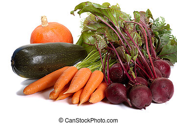 vegetables - heap of fresh vegetables isolated on white