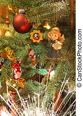 Christmas tree - Decorated chrismas tree with angels, ball,...