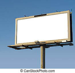 Billboard - a blank billboard sign on a blue background
