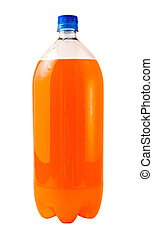 Orange Soda - A close up on a orange soda bottle isolated on...