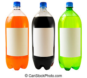 Soda Bottles - A close up on three soda bottles isolated on...