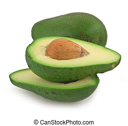 sliced avocado fruit on white, gentle natural shadow in...