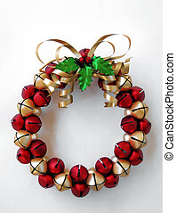 jinglebell wreath - wreath made of red and gold jingle bells