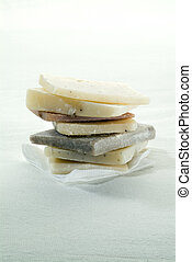 pile of hand made soaps - pile of hand made natural colors...