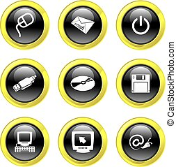 computer icons - collection of black glossy computer icons...