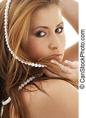 pearls - portrait of lovely lady with white pearl beads