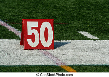 Football fifty yard marker - A red Football fifty yard...