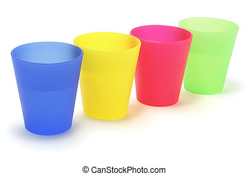 Plastic Cups  - Plastic cups drop out on white background