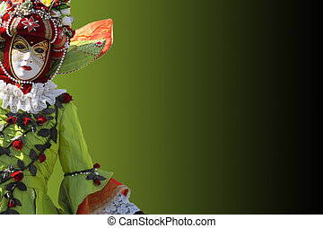 Mask - Model dressed in a costume with a decorated venetian...