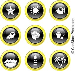 beach icons - set of black glossy beach icons isolated on...
