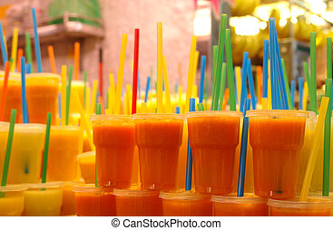 Fruit juices at the market