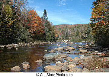 River in New Hampshire - A river in the White Mountains of...