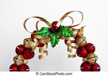 jingle bell wreath - red and gold christmas wreath made of...