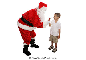 Lolipop from Santa Full Body - Cute little boy receiving a...