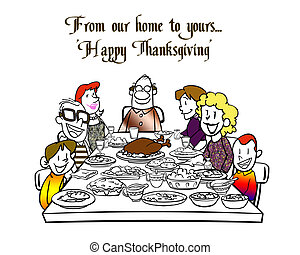 Happy Thanksgiving - A family is sitting at the table...