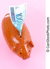 Economy Concept - Pig Bank with a brazilian currency 100...