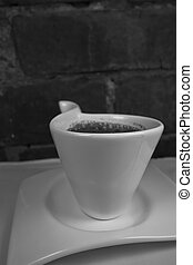 Italian Cafe - A black and white image on an espresso