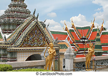 Emerald buddha temple - Guardian statues in Emerald buddha...