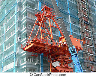 industrial construction crane - industrial red color crane...