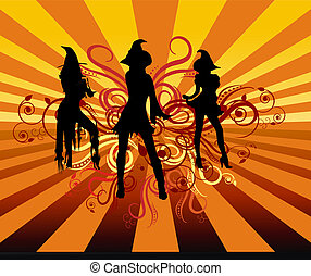 Groovy Witches - Three groovy witches dancing with 70s retro...