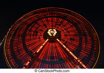 light effect - lunapark giant spinning wheel in motion
