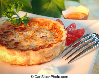 Quiche - Tasty quiche in a plate