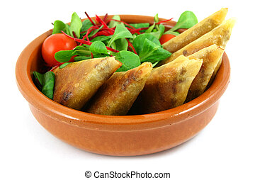 samosas in a bowl - samosas and salad bowl, isolated on...