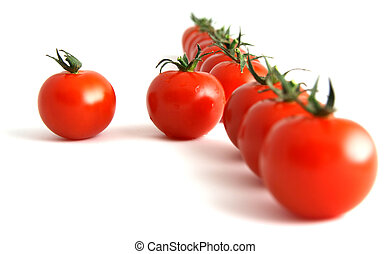 willful tomato - one step forward by one tomato, isolated on...