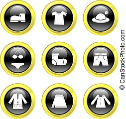 clothing icons - set of clothing icons on black glass...