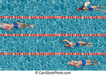 Success - Swimming competition with one champion Use it for...