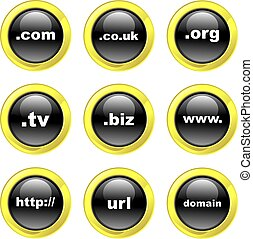 domain icons - set of domain name internet icons on black...