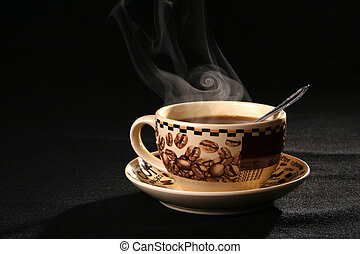 Coffee cup pairs a smoke - sprightliness, cheerfulness,...
